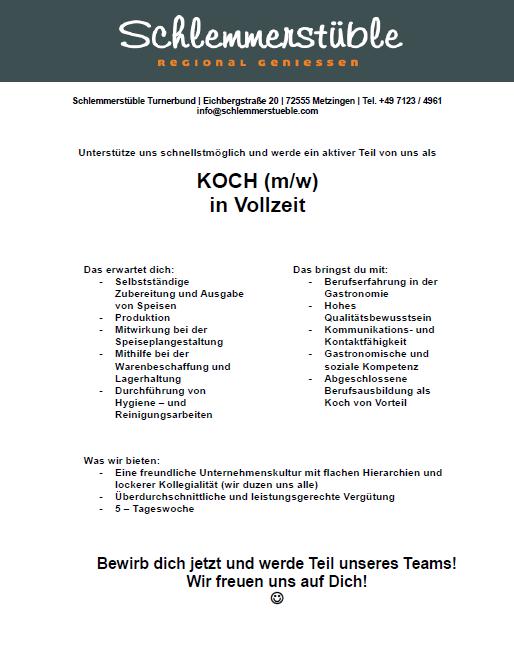 Koch in Vollzeit